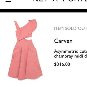 CARVEN Red Chambray Asymmetric Dress with Cut-Out